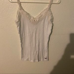 Hollister White Lace Trim Cami Tanktop bow front